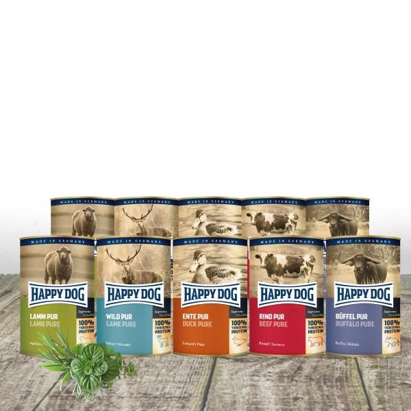 Happy Dog - Dosen pur 12 x 400 g - Mischtray mit 4 Dosen Rind und je 2 x Lamm, Wild, Büffel und Ente